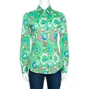 Etro Green Floral Paisley Print Stretch Cotton Shirt S