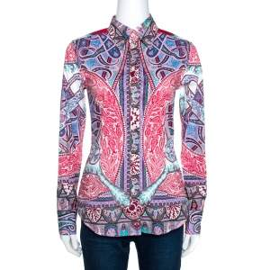Etro Red Bohemian Paisley Print Stretch Cotton Shirt S