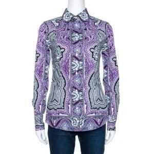 Etro Purple & Black Paisley Print Stretch Cotton Shirt S
