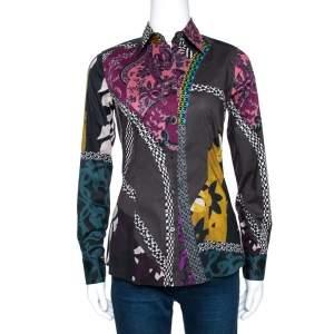 Etro Multicolor Floral Patch Print Stretch Cotton Shirt S