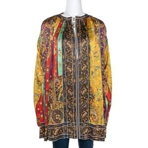 Etro Multicolor Panelled Print Silk Pleated Tunic Top L