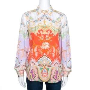 Etro Multicolor Paisley Printed Cotton Button Front Shirt M