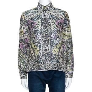 Etro Multicolor Floral Paisley Print Silk Long Sleeve Shirt M