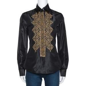 Etro Black Silk Hand Embroidered & Embellished Shirt M