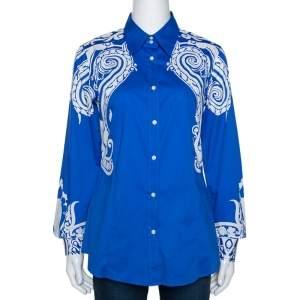 Etro Blue & White Paisley Print Stretch Cotton Shirt M