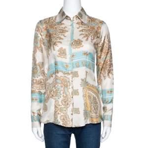 Etro Cream and Teal Paisley Print Silk Long Sleeve Shirt S
