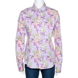 Etro Mauve Floral Printed Cotton Button Front Fitted Shirt L