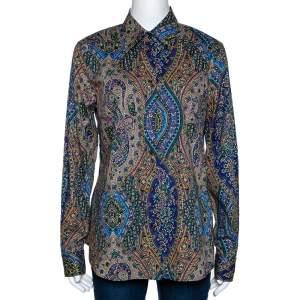 Etro Multicolor Paisley Printed Stretch Cotton Button Front Shirt L