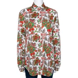 Etro White & Red Floral Printed Stretch Cotton Button Front Shirt M