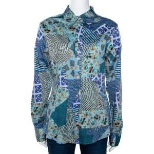Etro Multicolor Stretch Cotton Multiprint Button Front Shirt XL