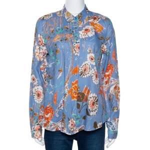 Etro Blue Floral Printed Linen Button Front Shirt L