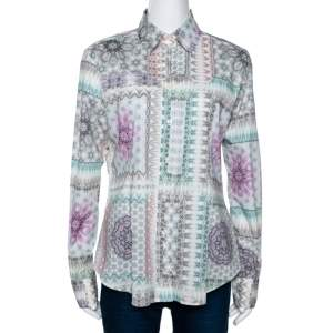 Etro Multicolor Abstract Printed Stretch Cotton Button Front Shirt L