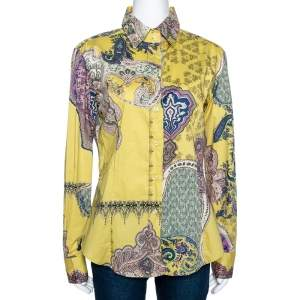 Etro Yellow Paisley Printed Stretch Cotton Button Front Shirt L