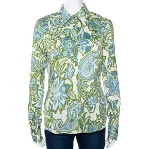 Etro Blue & Green Paisley Printed Stretch Cotton Button Front Shirt L