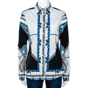 Etro Multicolor Graphic Tribal Printed Stretch Cotton Button Front Shirt L