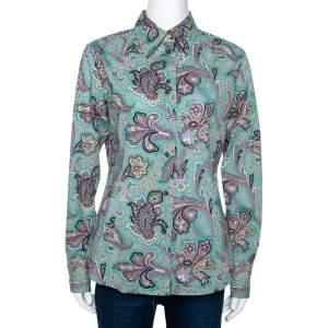 Etro Jade Green Floral Paisley Print Stretch Cotton Long Sleeve Shirt L