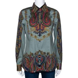 Etro Sage Green Paisley Print Stretch Cotton Long Sleeve Shirt L
