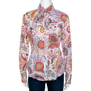 Etro Multicolor Paisley Print Cotton Long Sleeve Shirt L