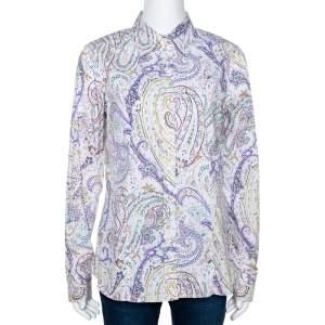 Etro Multicolor Striped Paisley Printed Cotton Button Front Shirt L