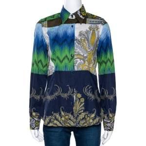 Etro Navy Blue Ikat Paisley Print Stretch Cotton Shirt M