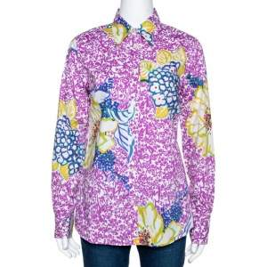 Etro Purple Floral Print Stretch Cotton Long Sleeve Shirt L