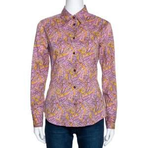 Etro Mustard & Pink Paisley Printed Cotton Shirt M