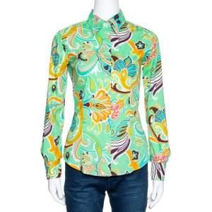 Etro Mint Green Macro Paisley Print Cotton Shirt S