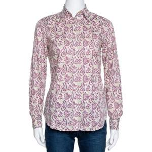 Etro Sage Green & Purple Paisley Printed Cotton Shirt S