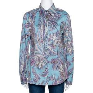 Etro Teal Paisley Print Stretch Cotton Long Sleeve Shirt L