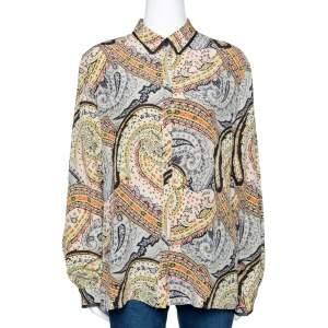 Etro Multicolor Paisley Printed Silk Button Front Shirt L