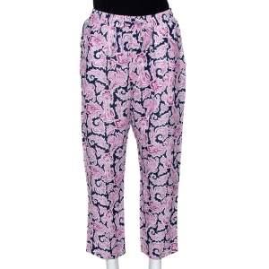 Etro Pink Paisley Print Linen Elasticized Waist Pants L