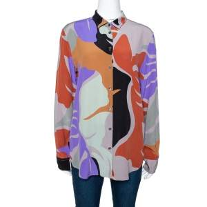 Etro Multicolor Abstract Printed Silk Crepe Button Front Shirt L