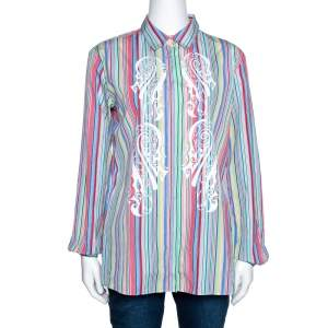 Etro Multicolor Striped & Printed Cotton Long Sleeve Shirt M