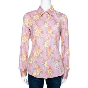 Etro Light Pink Floral Print Stretch Cotton Long Sleeve Shirt L