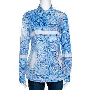 Etro Blue Paisley Print Stretch Cotton Long Sleeve Shirt M