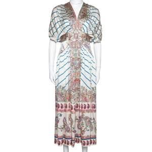 Etro Cream Striped & Paisley Print Silk Gathered Midi Dress S