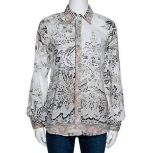Etro Beige Paisley Print Stretch Cotton Long Sleeve Shirt M