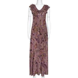 Etro Olive Green Paisley Print Stretch Jersey Ruffled Maxi Dress S