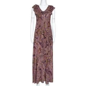Etro Olive Green Paisley Print Stretch Jersey Ruffled Maxi Dress S