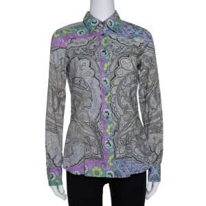 Etro Multicolor Paisley & Floral Print Stretch Cotton Shirt M