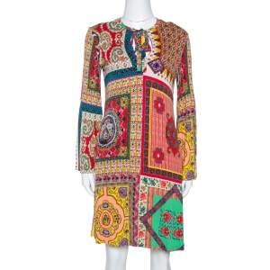 Etro Multicolor Patchwork Print Jersey V-Neck Shift Dress S