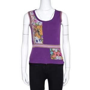 Etro Purple Silk & Knit Patched Sleeveless Top S