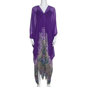 Etro Purple Paisley Border Printed Sheer Silk Maxi Kaftan ( One Size )