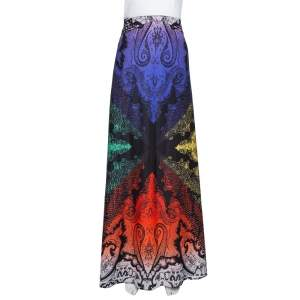 Etro Multicolor Paisley Print Stretch Silk Maxi Skirt M