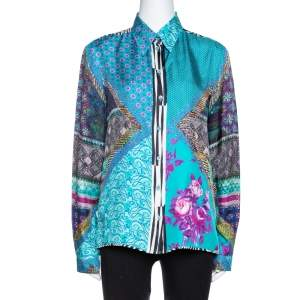 Etro Teal Blue Floral Print Silk Long Sleeve Shirt M