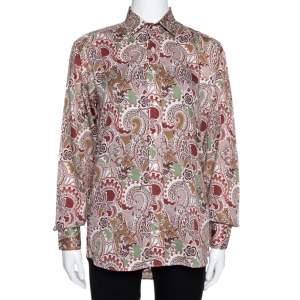 Etro Taupe Floral Paisley Print Cotton Long Sleeve Shirt S