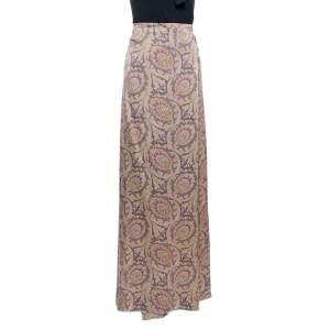 Etro Greige Paisley Print Silk Satin Maxi Skirt L