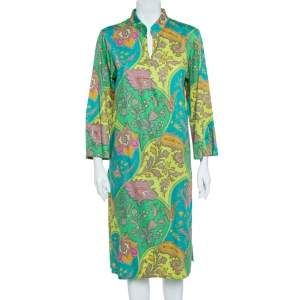Etro Green Cotton Printed Crepe de Chine Dress L