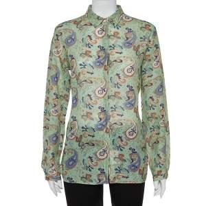 Etro Green Ramie Paisley Print Button Front Shirt L