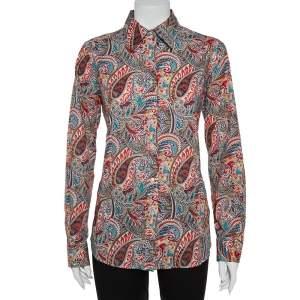 قميص إيترو أكمام طويلة مطبوع بايزلي قطن متعدد الألوان مقاس كبير (لارج)